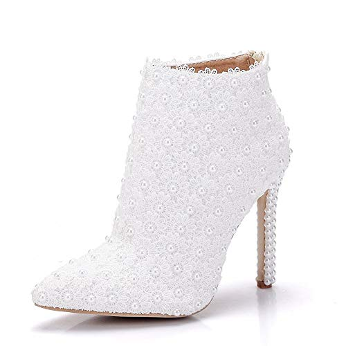YAN Women es Shoes Lace/PU Spring & Fall Wedding Shoes Stiletto Heel Pointed Booties/Ankle Boots Imitation Pearl/Satin Flower White,White,CN37 Stiletto Heel Ankle Lace