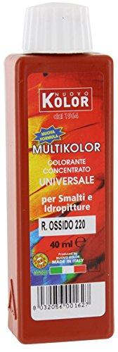 CAPALDO Farbstoff Universal ML. 40Rot Oxid 220rl auf Basis von Pigmenten organischen und anorganischen. Für alle–Lacke All Wasser, A Lösungsmittel und Mineralien wie Kalk und Silikaten. Flasche 40ml Farbe rot Oxid Stück