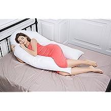 Pato y Ganso almohada de maternidad, embarazo apoyo almohada, cojín de lactancia, en forma de U almohada de cuerpo entero con cremallera 100% algodón funda de almohada, algodón, White-04, 150*37