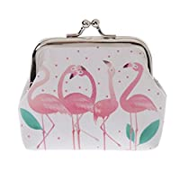 Profusion Circle Flamingo Faux Leather Coin Purse Pouch Clutch Earphone Coin Key Card Cash Storage Case Mini Wallet