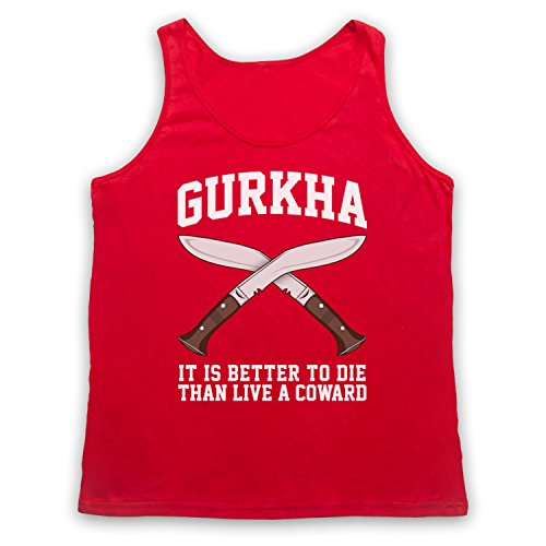 Gurkha Motto It Is Better To Die Than Live A Coward Tank-Top Weste Rot