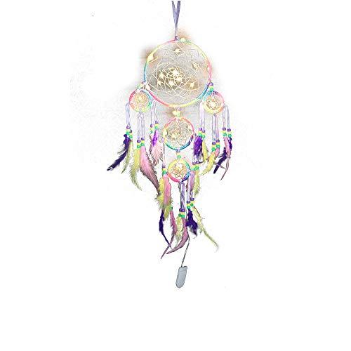 FiedFikt Atrapasueños colorido hecho a mano, atrapasueños con luz nocturna, atrapasueños,tradicionales para colgar en el hogar,coche, decoración de pared,jardín,regalo de manualidades