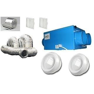 Heat Recovery Bathroom Fan Condensation ventilation complete 4 room KIT