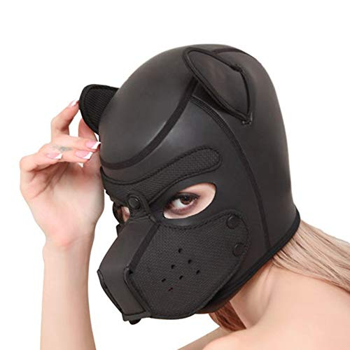 PU Leder Full Face Cover Breathable Mask Open Mouth Dog Head Cosplay Costume Sexy Suit Headgear Adult Games Toy Maske,Black