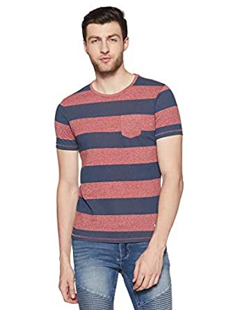 Flying Machine Men's Striped Slim Fit T-Shirt (FMTS9819_Bossa Nova_S)