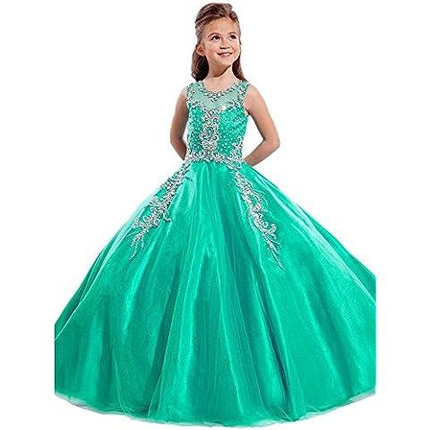 RUKLEID Niñas vestido de bola Tul Tela Con Cristal Rosario cuello de la joya La longitud del piso Alinear Vestidos de niñas