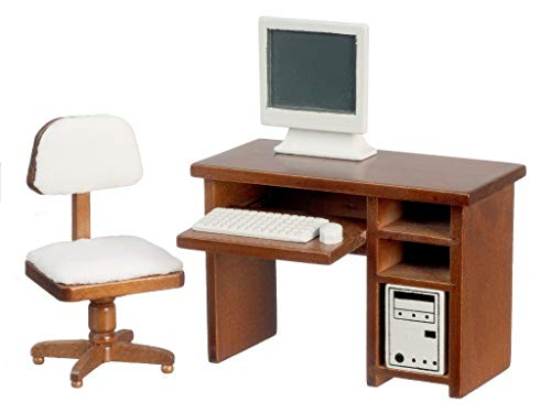 Melody Jane Puppenhaus Walnuss Computer Schreibtisch & Stuhl-Miniatur Lern Büromöbe Set