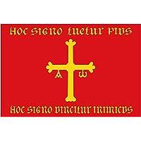 magFlags Bandera Large Heráldica atribuida al Reino de Asturias con los elementos del escudo del Reginiento