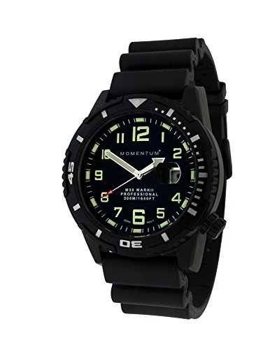 Momentum Men's 'M-50 Collection' Quartz Stainless Steel and Rubber Casual Watch, Color:Black (Model: 1M-DV54B1B)