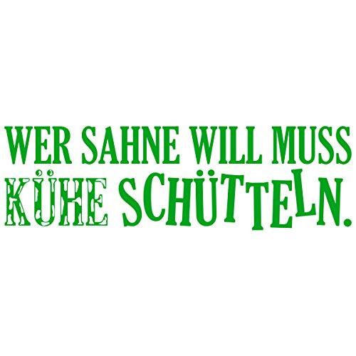 WANDKINGS Wandtattoo - Wer Sahne will muss Kühe schütteln - 120 x 34 cm - Gelbgrün - Wähle aus 5 Größen & 35 Farben