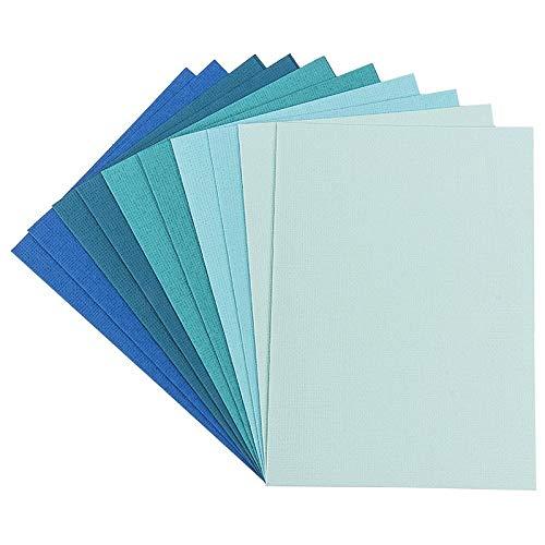 Grußkarten-Set | 10 farbige Karten & 10 weiße Umschläge | Leinen-Optik | bunt | blanko | neutral | ideal für liebe Glückwünsche zum Geburtstag, Hochzeit, uvm. (Mint-/Blautöne, Din B6 | 16,5 x 11,5 cm)