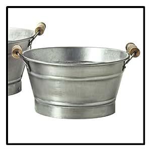 Cache-pots vasque avec poignées - Acier galvanisé - Diam. 23 cm