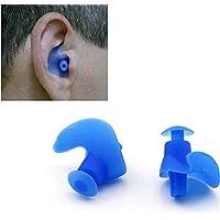 1 par de tapones de silicona suaves e impermeables para los oídos, tapones para los oídos de Woopower con funda de almacenamiento para deportes acuáticos o dormir (azul)