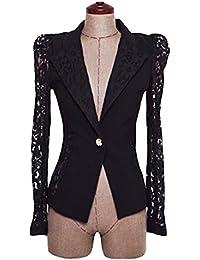 Y-BOA Slim Blazer Courte Uni Veste De Tailleur Large Femme En Dentelle Noire