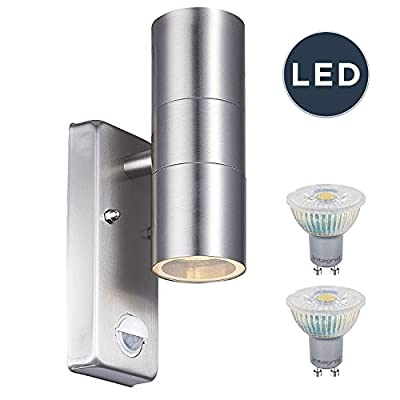LightHub LED Up & Down Stainless Steel Outdoor Porch Wall Light with Motion Sensor PIR IP44 - cheap UK light store.