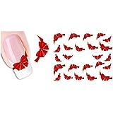 Nicedeco - Calcomanías y Autoadherentes Pegatinas Decoración para uñas DIY Nail Arte Nudo de Mariposa Rojo