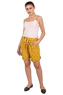 9teenAGAIN Women's Rayon Printed Nightwear Shorts(Yellow)