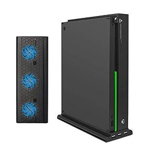 FastSnail Vertikaler Ständer für Xbox One X mit Kühlventilator, FastSnail vertikaler Ständer für Xbox One X mit 3 USB-Anschlüssen und Lichtleiste (nur für Xbox One X)