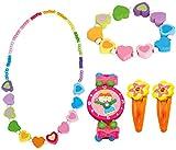 BINO 5 TLG. Set Holzschmuck Mädchen Motiv Regenbogen Herz - Halskette Armband Armbanduhr 2 Haarspangen