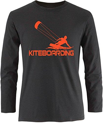 EZYshirt® Kiteboarding Herren Longsleeve Schwarz/Orange