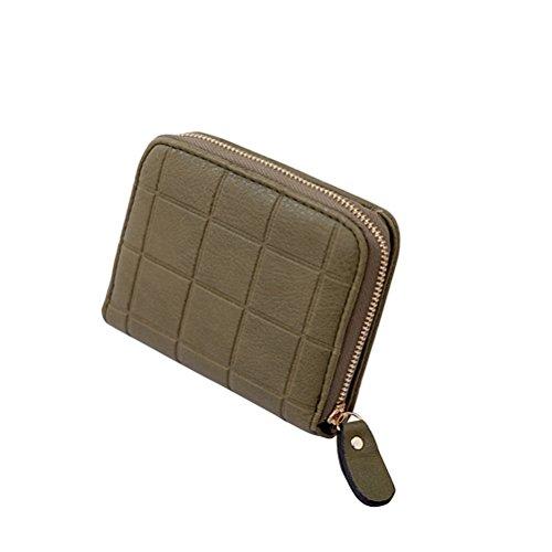 Schöne Kleine Mädchen (Tinksky Klein Portemonnaie Plaid-Muster mit Reißverschluss Damen Kleine Geldbeutel PU Leder Brieftasche für Frauen Mädchen (Dunkelgrün))