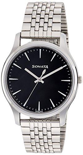 Sonata Essentials Analog Black Dial Men's Watch-77082SM01