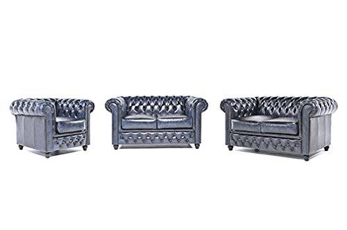 Original Chesterfield Sofas und Sessel – 1 / 2 / 2 Sitzer – Vollständig Handgewaschenes Leder – Antik Blau