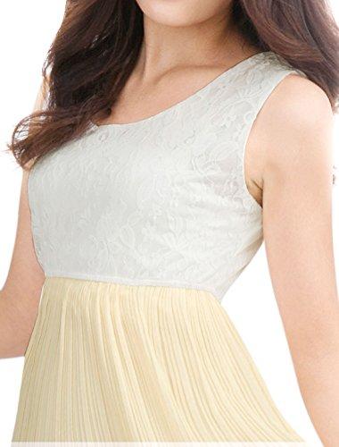 Allegra K Allegra K Femmes contraste sans manches dentelle robe plissée couleur supérieure Beige