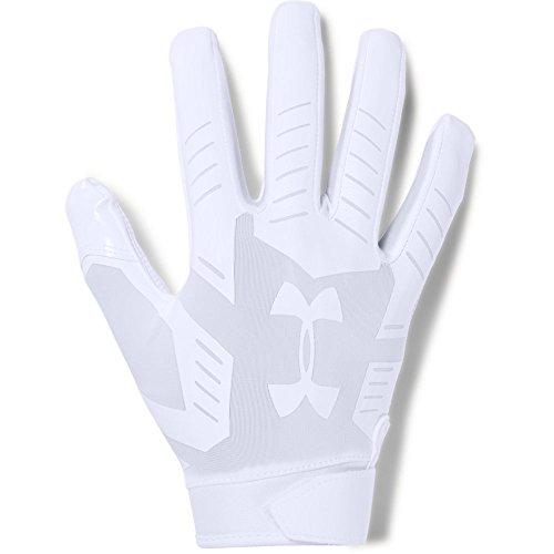 Under Armour Men's F6 Football Gloves, Medium, White/Aluminum