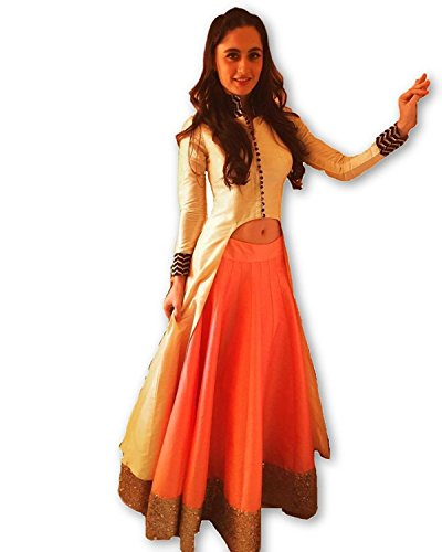 SS Global Women\'s Orange & Cream Taffeta Silk Indo Western Wear Lehenga Choli