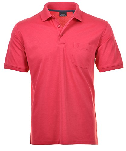 Ragman Herren Kurzarm Softknit Poloshirt Pink