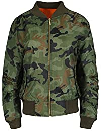 New Womens MA1 Camouflage Jacket Classic Military Bomber Woodland Vintage Biker