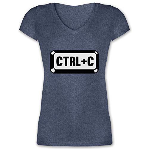 Partner-Look Familie Mama - Papa/Mama - Baby Copy - CTRL+C - XXL - Dunkelblau meliert - XO1525 - Damen T-Shirt mit V-Ausschnitt Coby 19