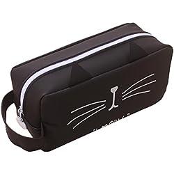 Lindo gato caja de lápices de silicona a prueba de agua lápiz grande bolsa de lápiz portátil bolsa de cosméticos de maquillaje lindo papelería escolar organizador de almacenamiento para niñas niños niños