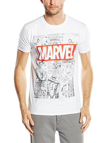 Marvel Mono Comic T-Shirt, Camiseta para Hombre, Blanco (White), Medium