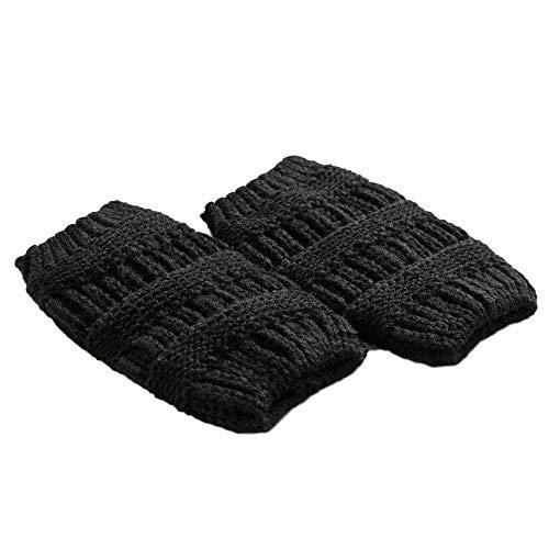 UJUNAOR Damen Wollsocken Warme Winter Leggings Socken Beindecke Stricken Dicke Häkeln Faule Stiefel(Schwarz,One size)