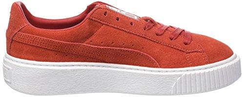 Puma Damen Suede Platform Sneaker Rot (Barbados Cherry-Barbados Cherry-Puma White)