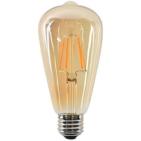 Luxon Bombilla tipo Edison vintage, LED de filamento ámbar ST64 tipo jaula de ardilla, casquillo E27 mediano, 4W equivalentes a 40 W de bombilla incandescente, 240V, luz blanca cálida 2700K, para habitación, sala de lectura, restaurante, oficina, intensidad no