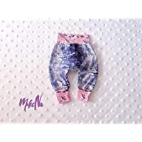 Pantalón de Bebé Rosa con Unicornios Hecho a Mano Ajustable Evolutivo Pantalones Punto de Algodón Pink