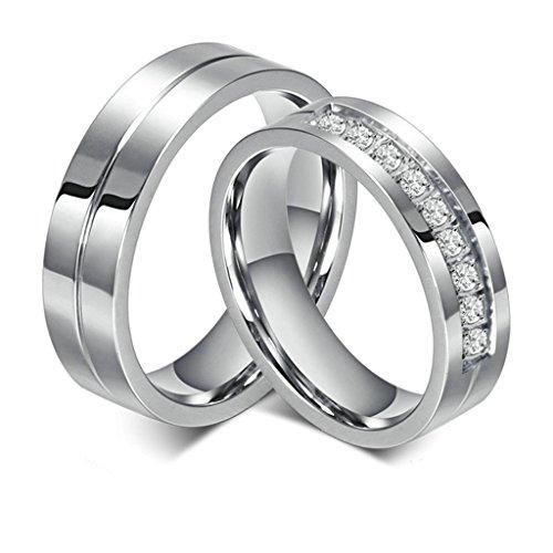 Daesar Männer Verlobungsringe Edelstahl Ringe Silber Glatt Zirkonia Ringe Mit Geschenk-Box 65 (Amor Kostüm Griechisch)