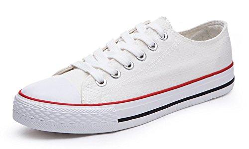 14 Amazonen (Honeystore Unisex's Schnürung Leinwand Flache Low-Cut Schuhe Erwachsene Sneaker Weiß und Rot 43 EU)