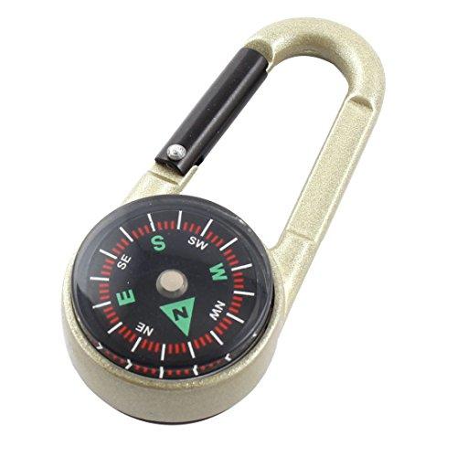 sourcingmap® Wandern, mit Kompass, Thermometer, Karabiner-Haken, Aluminiumlegierung, Schwarz/Hellgrün