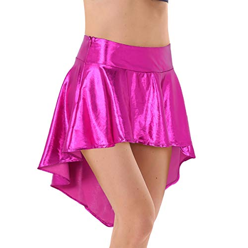 Metallic-spandex-rock (iiniim Damen Rock Glänzend Metallic Minirock Ballerina Latein Tanzrock A-Linie Asymmetrisch Rock Party Clubwear S-L Rose L)
