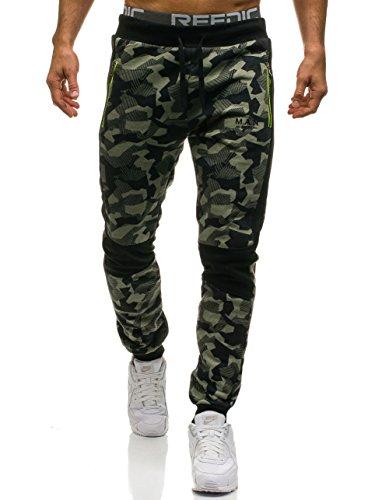 BOLF Hombre Pantalón Deportivo Jogger Militar Camuflaje Estilo Urbano RED FIREBALL W1373 Verde M [6F6]