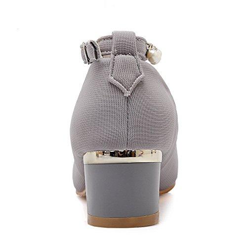VogueZone009 Femme Matière Souple Boucle Rond à Talon Bas Mosaïque Chaussures Légeres Gris