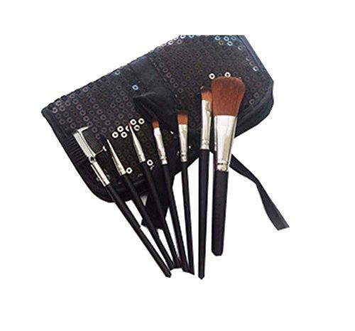 BLACK Sequin Sac cosmétique / 7 Pièces Maquillage des yeux Pinceaux