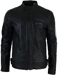 Veste courte cintrée noire en véritable cuir vielli pour homme motard décontracté fermeture éclair