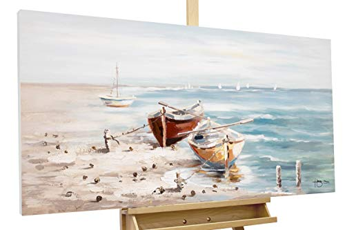 KunstLoft® Acryl Gemälde 'Seaside' 120x60cm | original handgemalte Leinwand Bilder XXL | Meer Boote Orange Blau | Wandbild Acrylbild Moderne Kunst einteilig mit Rahmen