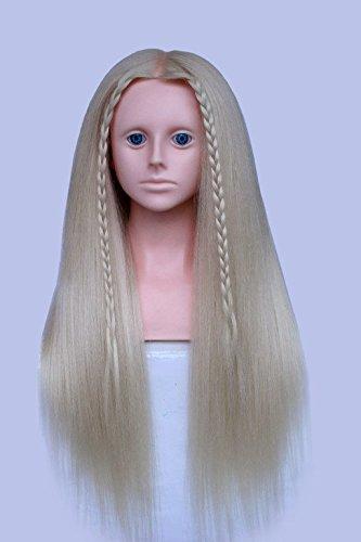 topbeauty Blond Mixte Cheveux De Coiffure pratique Formation Tête Poupée Mannequin avec bandoulière