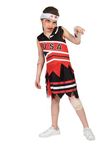 costumebakery - Kinder Kostüm, Zombie Cheerleader Horror Girl, perfekt für Halloween Karneval und Fasching, 164, Rot (Kids Zombie Cheerleader Kostüme)